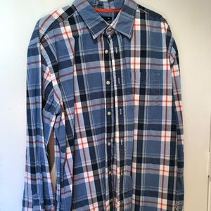 Gap blue/orange plaid LS shirt